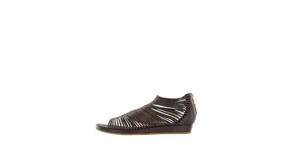 Dámske tmavo hnedé pásikové sandálky Flip Flop