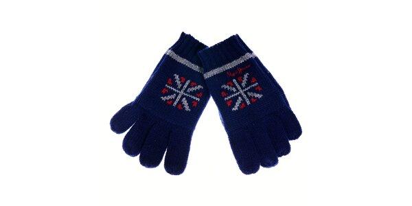 Detské tmavo modré rukavice Pepe Jeans s nórskym vzorom