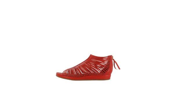Dámske červené pásikové sandálky Flip Flop