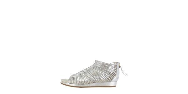 Dámske strieborné pásikové sandálky Flip Flop