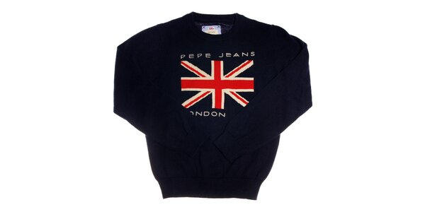 68e1698aad7b Detský tmavo modrý sveter Pepe Jeans s anglickou zástavou