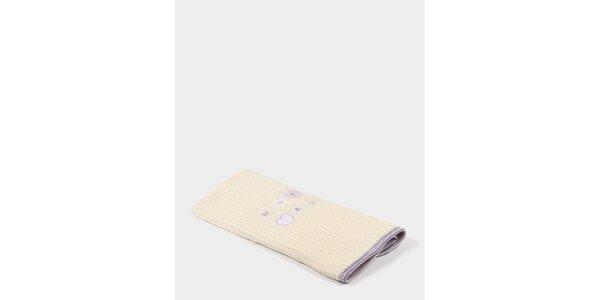 Detská béžovo-fialová deka s potlačou Naf Naf