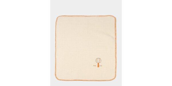 Detská béžovo-oranžová deka s potlačou stromčekov Naf Naf