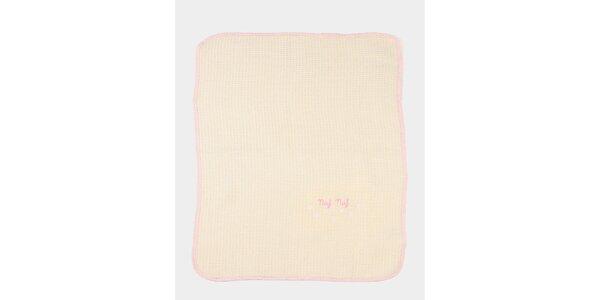 Detská broskyňová deka s ružovým lemom Naf Naf