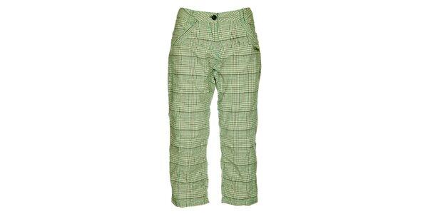 Dámske zeleno-šedé kockované capri nohavice Loap