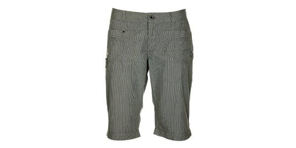 Dámske šedé prúžkované capri nohavice Loap