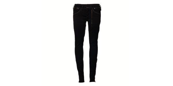 Dámske čierne elastické džíny Pepe Jeans so zipsom