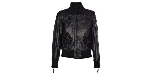 Dámska čierna kožená bunda Pepe Jeans