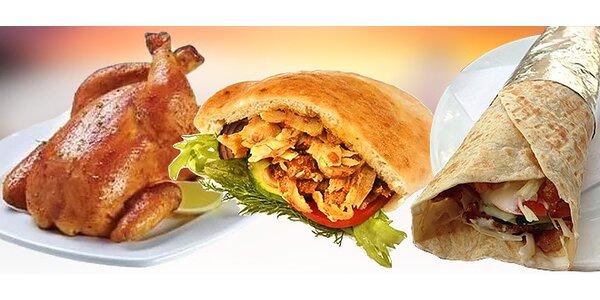 Kebab v žemli, kebab Dürüm, grilované kurča