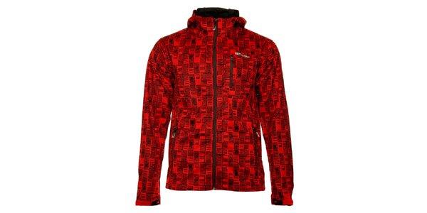 Pánska červená softshellová bunda Loap s čiernou potlačou