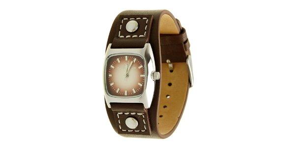 Dámske čierne analogové hodinky s koženým remienkom a vínovým ciferníkom Tom…