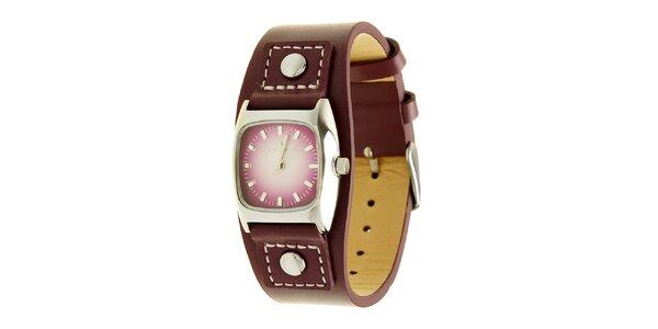 Dámske fialové analogové hodinky s koženým remienkom Tom Tailor