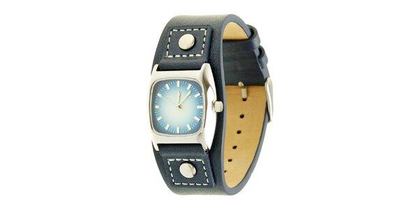 Dámske nebesky modré analogové hodinky s koženým remienkom Tom Tailor