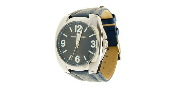 Signálne modré analogové hodinky s koženým remienkom Tom Tailor