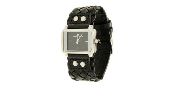 Dámske čierne analogové hodinky s prepletaným remienkom Tom Tailor