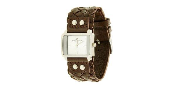 Dámske hnedé analogové hodinky s prepletaným remienkom Tom Tailor