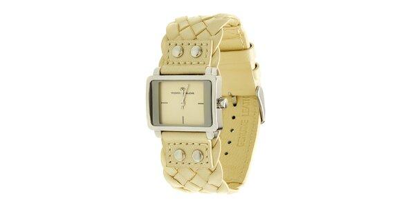 Dámske krémové analogové hodinky s prepletaným remienkom Tom Tailor
