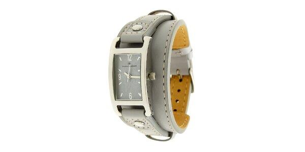 Dámske analogové hodinky v modrej farbe s prepletaným remienkom Tom Tailor