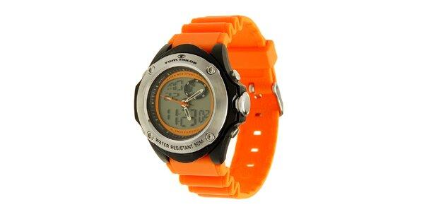 Oranžovo-čierne hodinky s digitálnym ciferníkom Tom Tailor