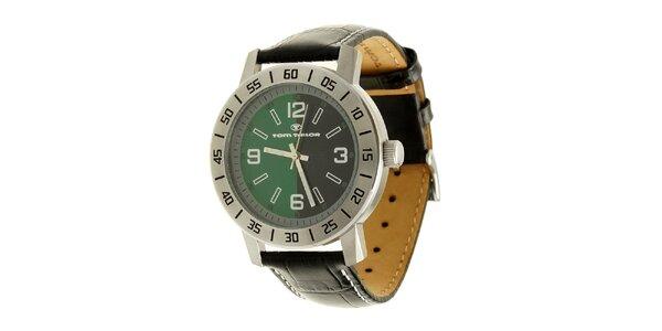 Ocelové analogové unisexové hodinky se zeleno-čiernym ciferníkom Tom Tailor