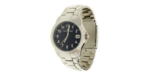 Strieborno-modré analogové hodinky Tom Tailor