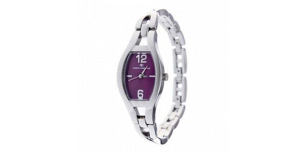 Dámske oceľové hodinky Tom Tailor s tmavo fialovým ciferníkom