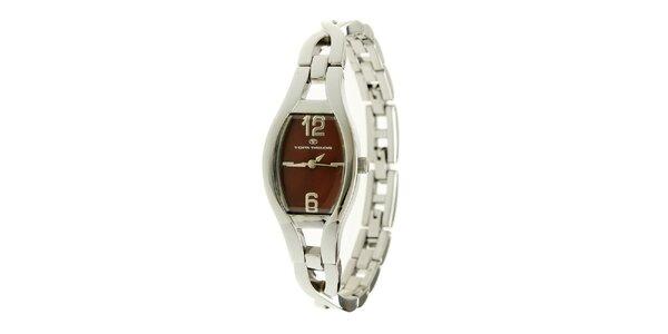 Dámske strieborné náramkové hodinky s vínovým ciferníkom Tom Tailor