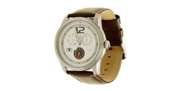 Hnedé analogové hodinky s výrazným analogovým ciferníkom Tom Tailor