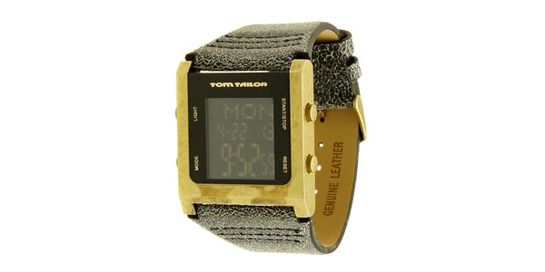 Pánske šedo-zlaté hodinky s digitálnym ciferníkom Tom Tailor