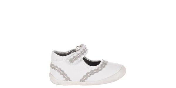 Detské biele kožené topánočky Billowy s šedým zdobením