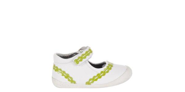 Detské biele kožené topánočky Billowy s limetkovým zdobením