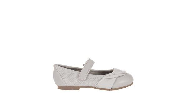 Detské svetlo šedé kožené topánočky Billowy s aplikáciou
