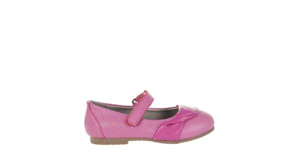 Detské fuchsiové kožené topánočky Billowy s aplikáciou