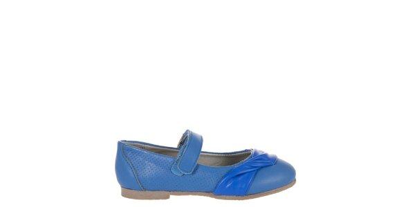 Detské žiarivo modré kožené topánočky Billowy s aplikáciou