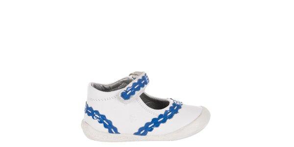 Detské biele kožené topánočky Billowy s modrým zdobením