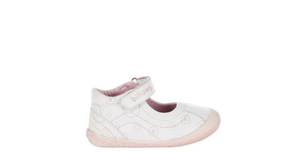 Detské biele kožené topánočky Billowy s růžovým potiskem
