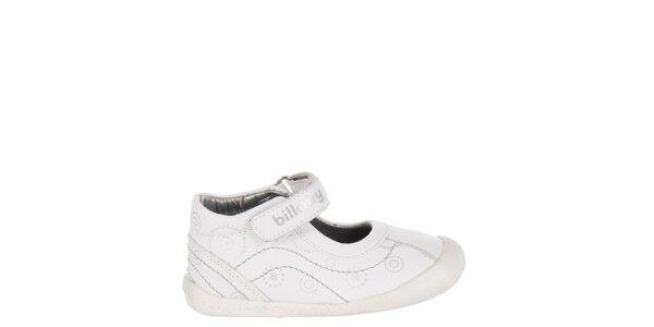 Detské biele kožené topánočky Billowy so striebornou potlačou