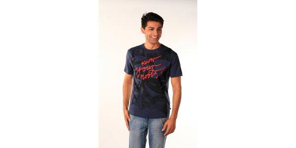 Pánske tmavo modré tričko Bestebat s potlačou