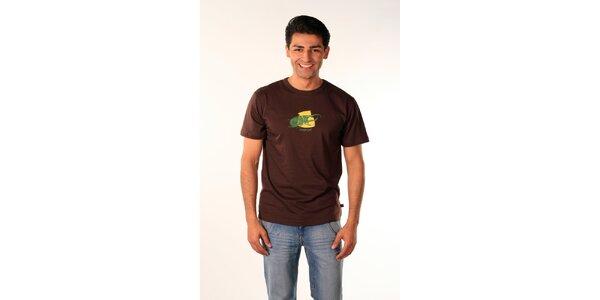 Pánske hnedé tričko Bestebat s potlačou