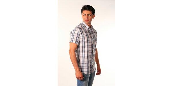 Pánska modro-biela kockovaná košeľa Bestebat