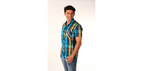Pánska modro-zelená kockovaná košeľa Bestebat