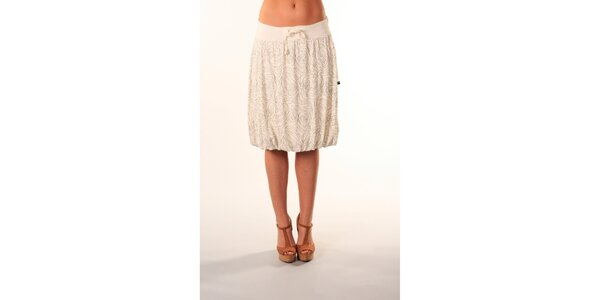 Dámská biela sukňa po kolená s čiernym vzorom Beste Bat