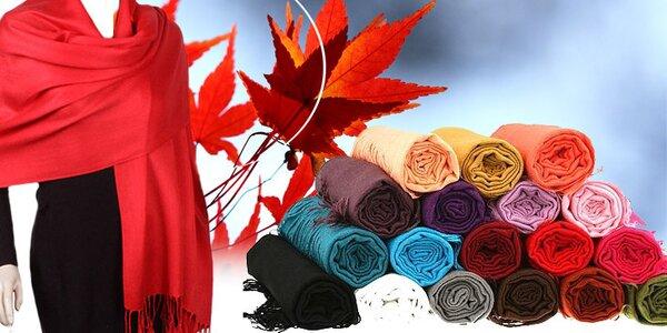 Originálny hebký šál pašmínového typu v neuveriteľnej ponuke farieb