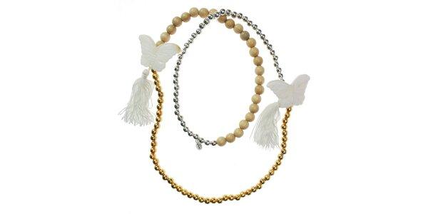 Dámsky korálkový náhrdelník Escapulario s motýlmi