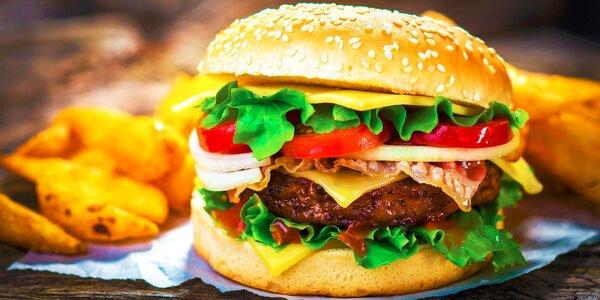 5 druhov burgerov, domáce hranolčeky a nápoj