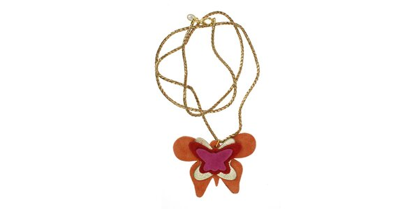Dámsky náhrdelník Escapulario s oranžovým motýlom