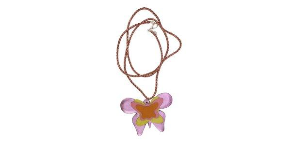 Dámsky náhrdelník Escapulario s fialovým motýlom