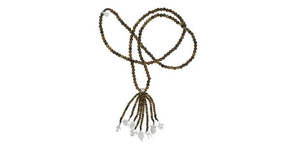 Dámsky dreveným náhrdelník Escapulario so striebornými príveskami