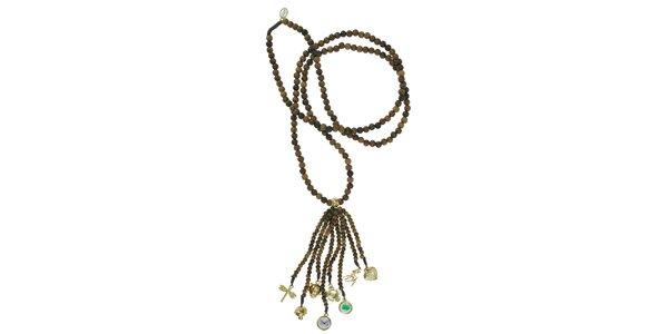 Dámsky dreveným náhrdelník Escapulario so zlatými príveskami
