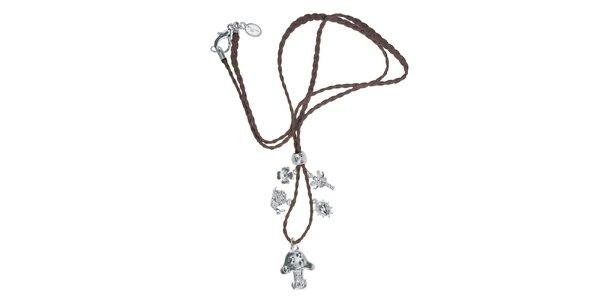 Dámsky kožený náhrdelník Escapulario so striebornými zvieratkami